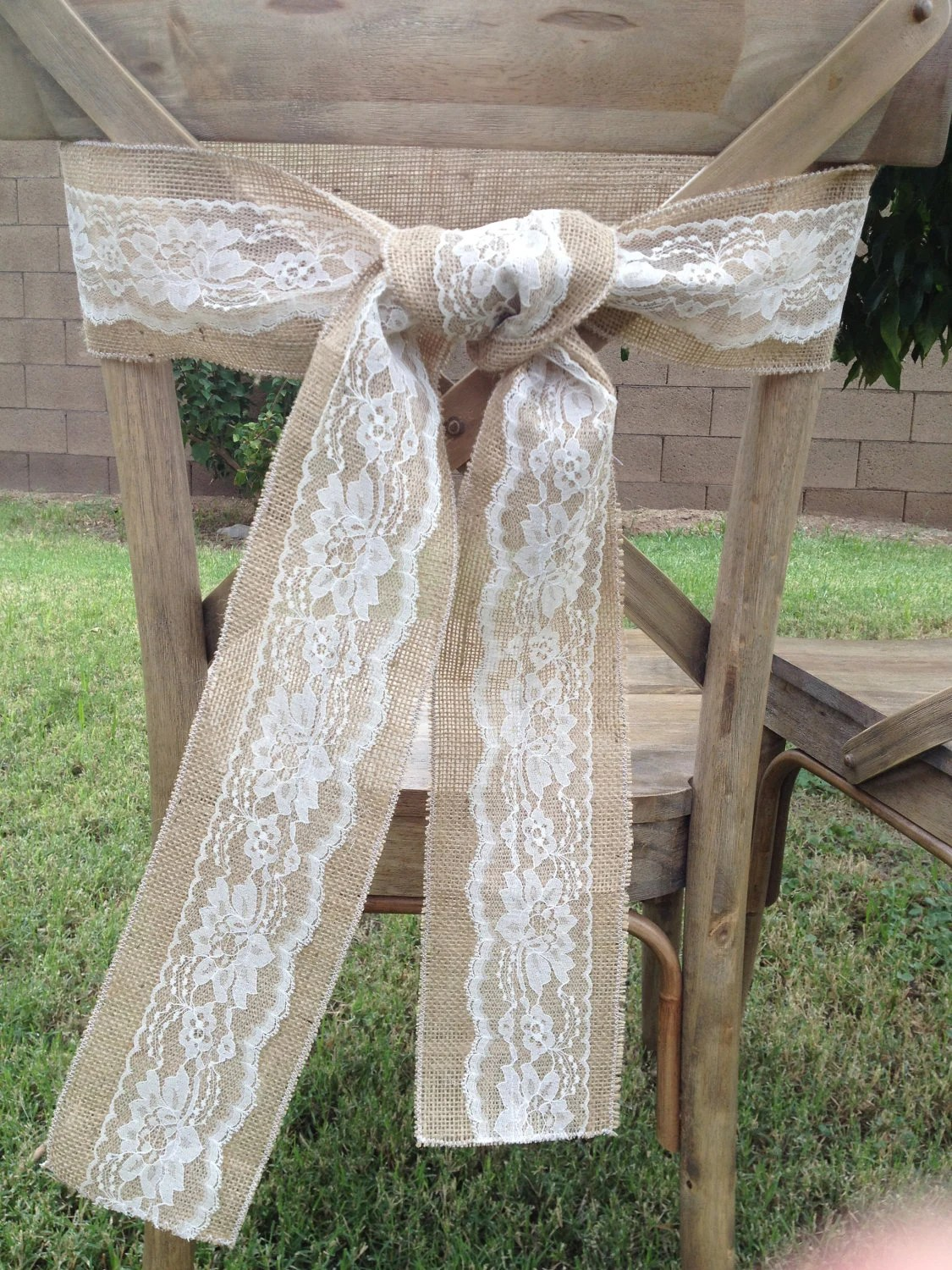 burlap chair sashes swivel hunting with gun rest sale and lace sash