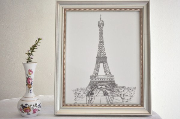 Eiffel Tower Art Print Of Original Drawing Paris