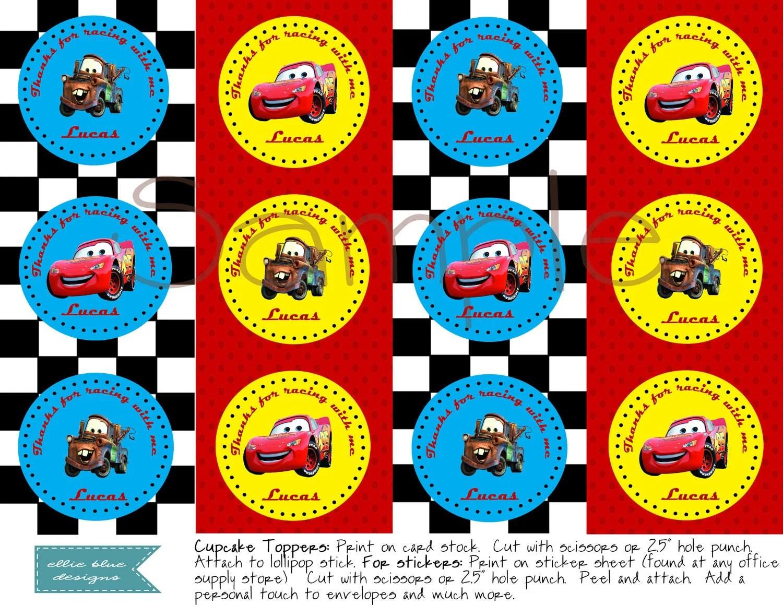 Diy Printable Disney Cars Cupcake Toppers
