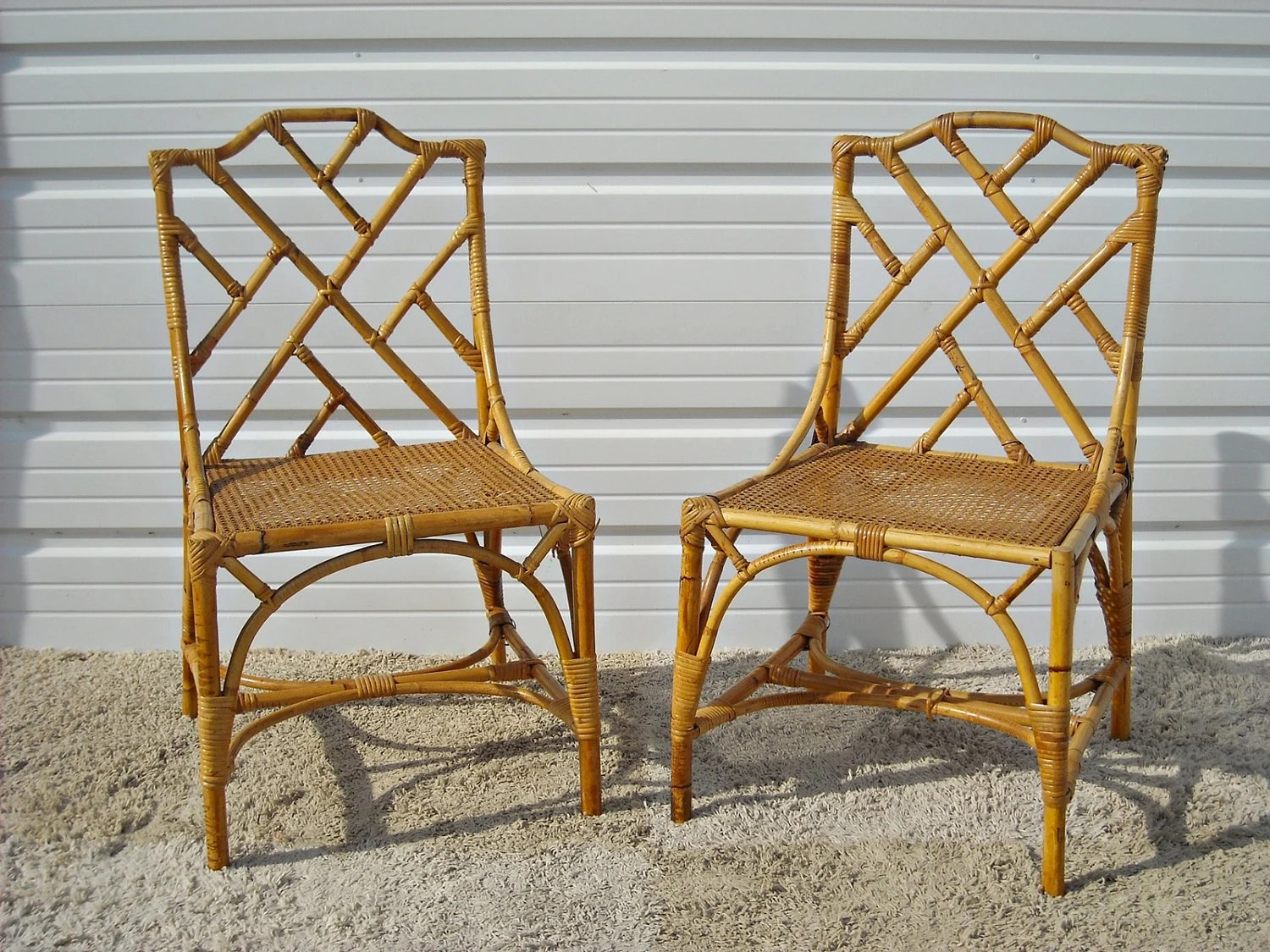 Vintage Rattan Chairs Vintage Chippendale Bamboo Rattan Chairs By Silverbranchhome