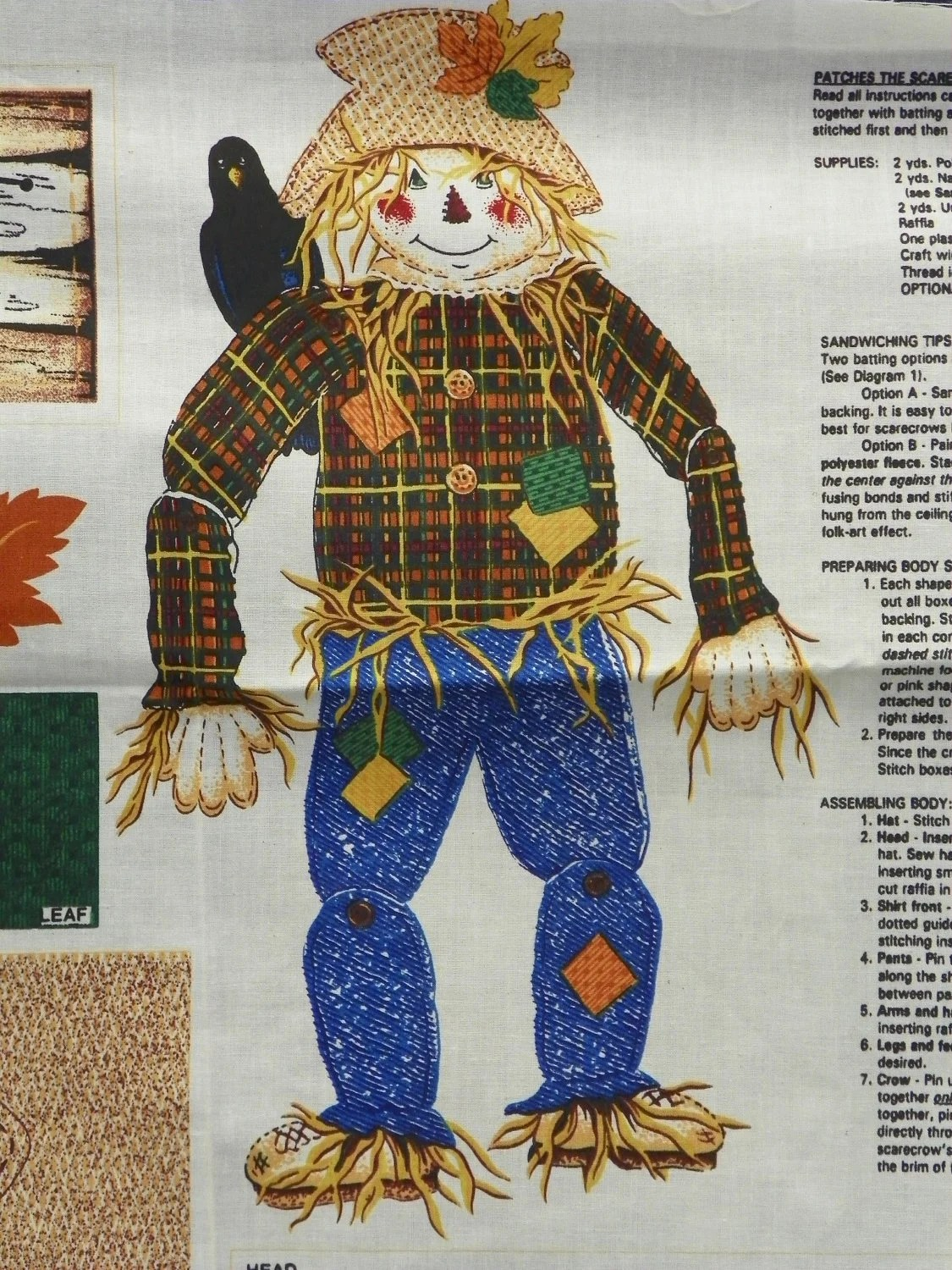 Patches The Scarecrow Craft Fabric Panel Pattern Complete A