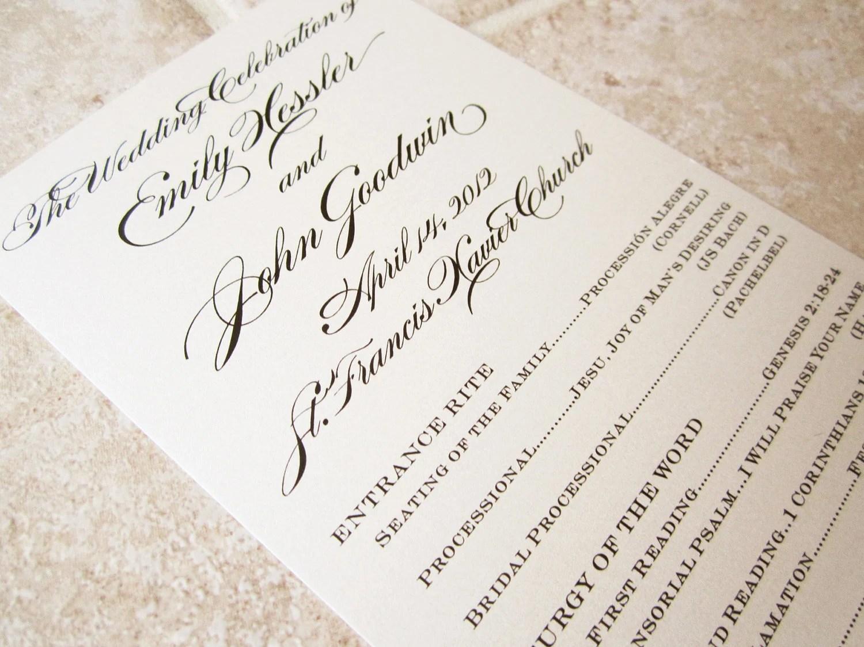 Formal Wedding Program Floral Script Tea Length Deposit OnePaperHeart