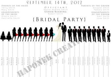 To Fun Wedding Program Wedding Party Silhouette Template On Etsy