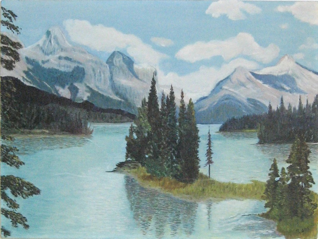 Large Vintage Landscape Painting - Mountains Meet the Sky - Nature Landscape Study - LastCentury