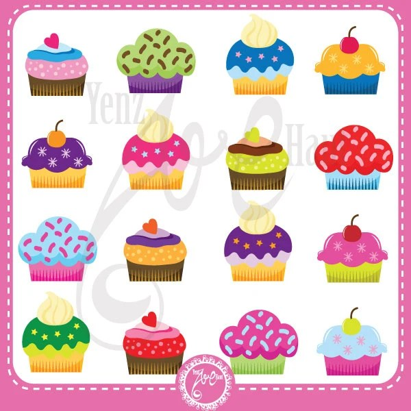 "colorful cupcakes clipart ""cupcakes"