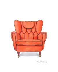 Mid Century Modern Chair Drawing Orange Nectarine 8x10
