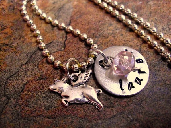 Personalized Jewelry Pig Necklace Charmaccents