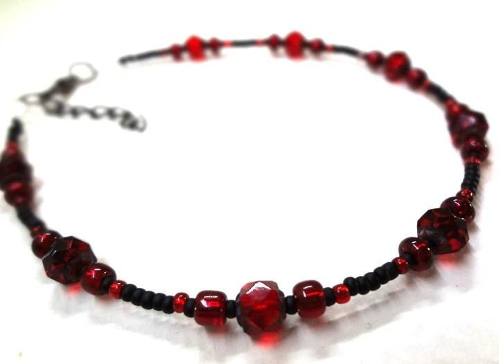 Black and Red Anklet - MegansBeadedDesigns