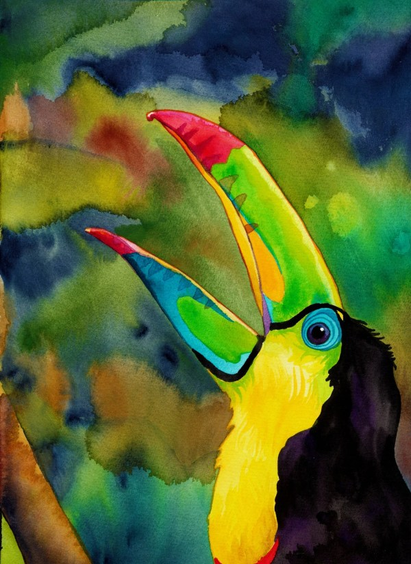 Transcendant Toucan Print Psychedelic Watercolor Of Colorful