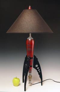 Table Lamp. Atomic retro rocket lamp. Metallic red. 50s. Steam