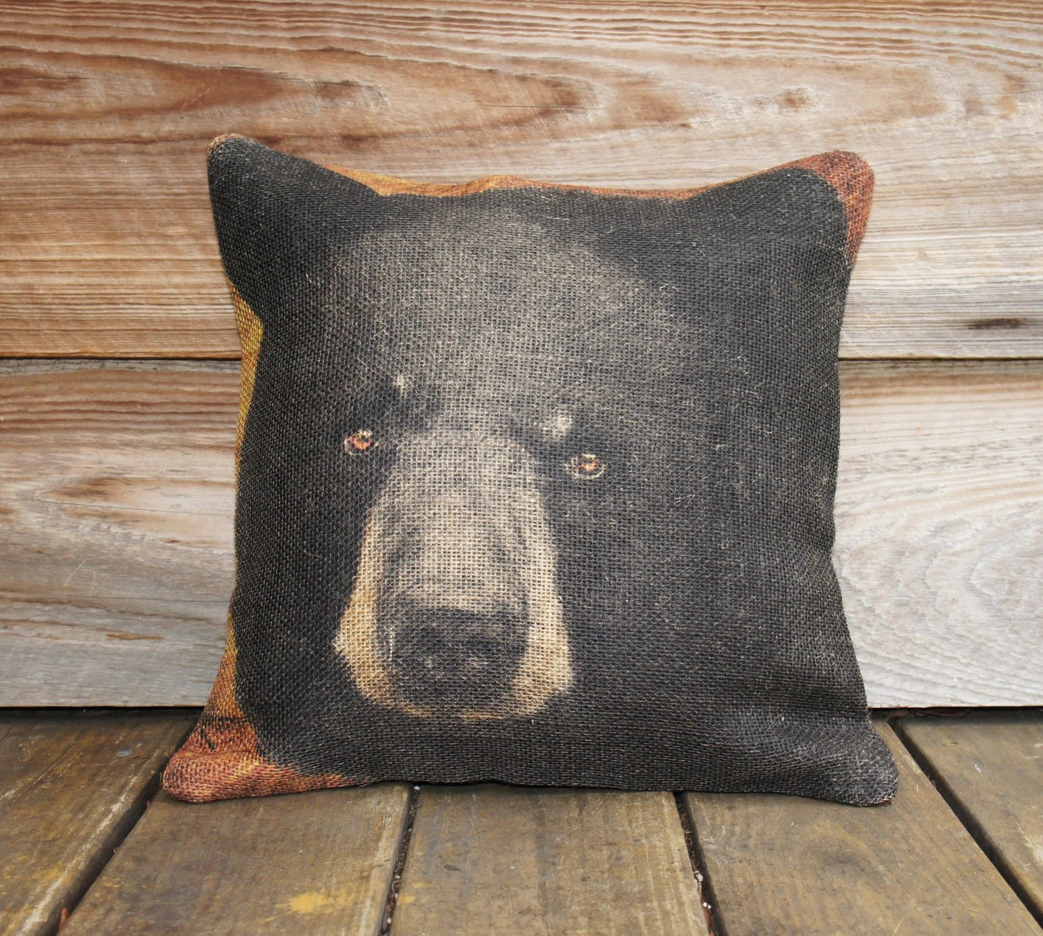 Burlap Chair Cushions Burlap Pillow Of Black Bear Throw Pillow Cushion Rustic