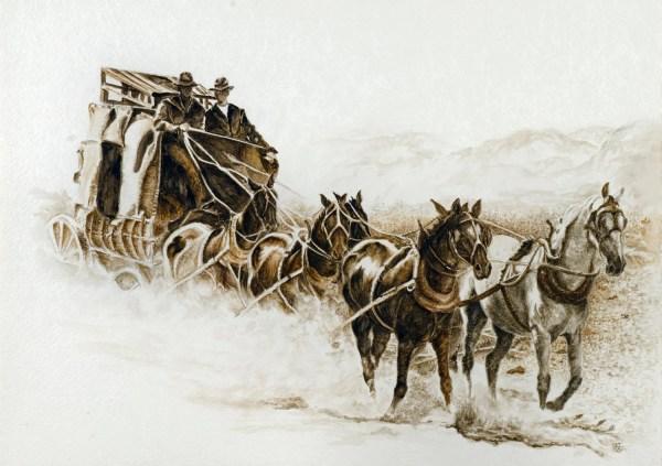 Western Decor Stagecoach West Giclee'