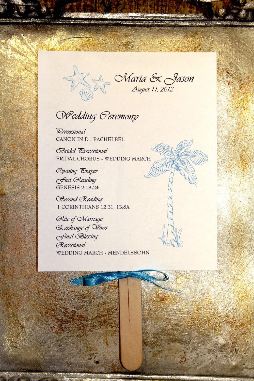 PROGRAM Beach Wedding Ceremony Programs Fan Programs with