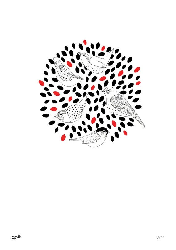 Tree Tops Print birds new baby home house by clairehartigan