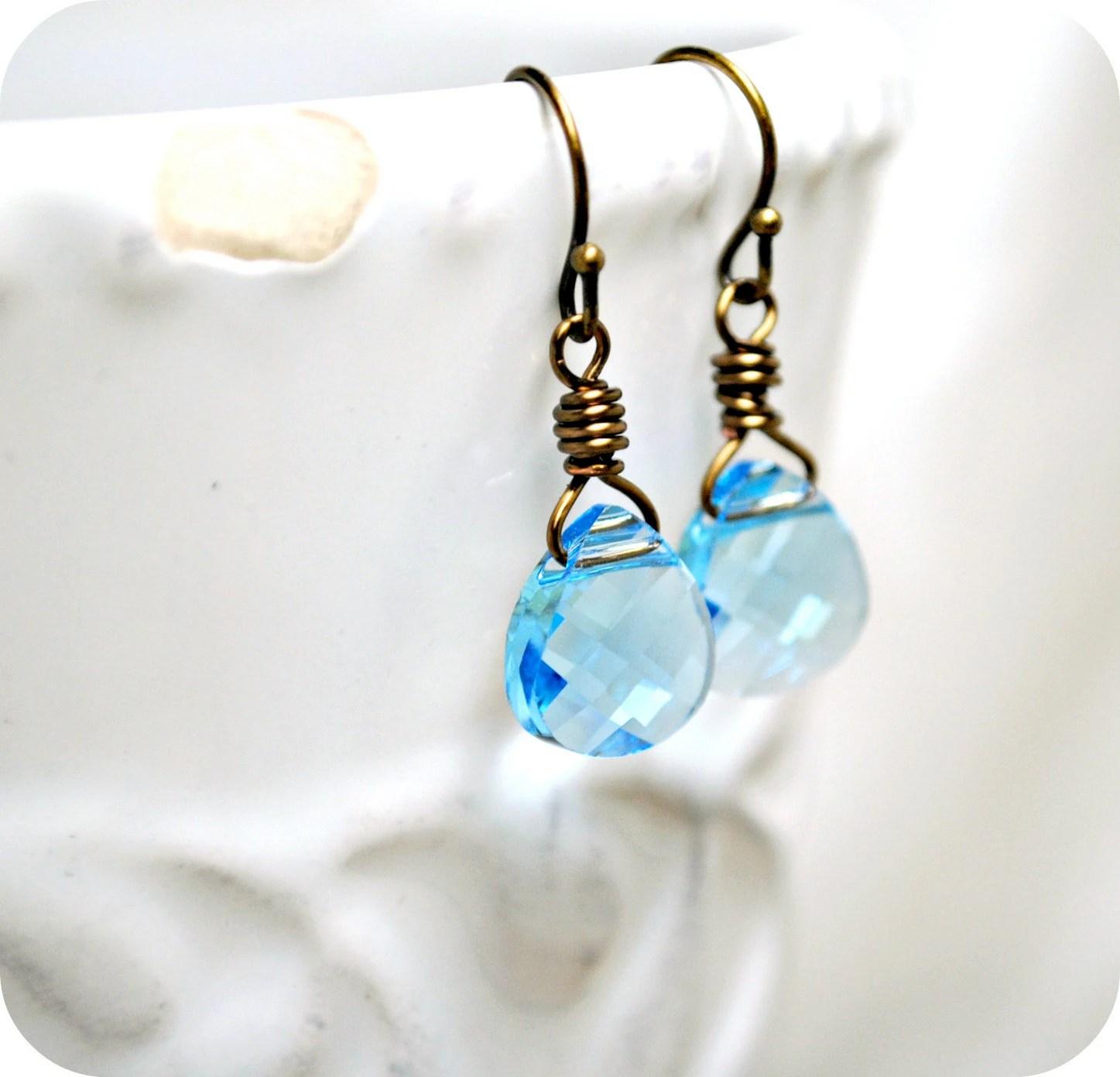 Aquamarine Earrings Swarovski Briolette by SidneyAnnJewelry