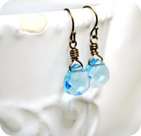 Aquamarine Earrings Swarovski Briolette by SidneyAnnJewelry