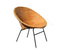 Mid Century Rattan Basket Chair by foldingchairs on Etsy