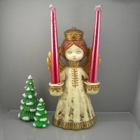 Vintage Christmas Angel Candle Holder Hollow Painted Paper
