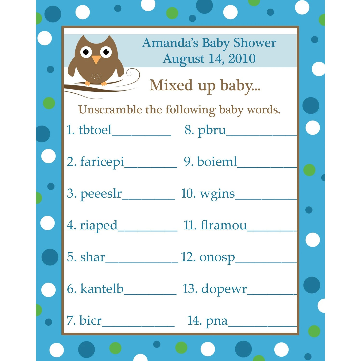 24 Personalized Word Scramble Baby Shower Game Cards By
