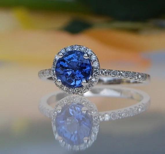 0.97ct Round blue cornflower sapphire diamond ring 14k white