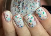 splat white glitter nail polish