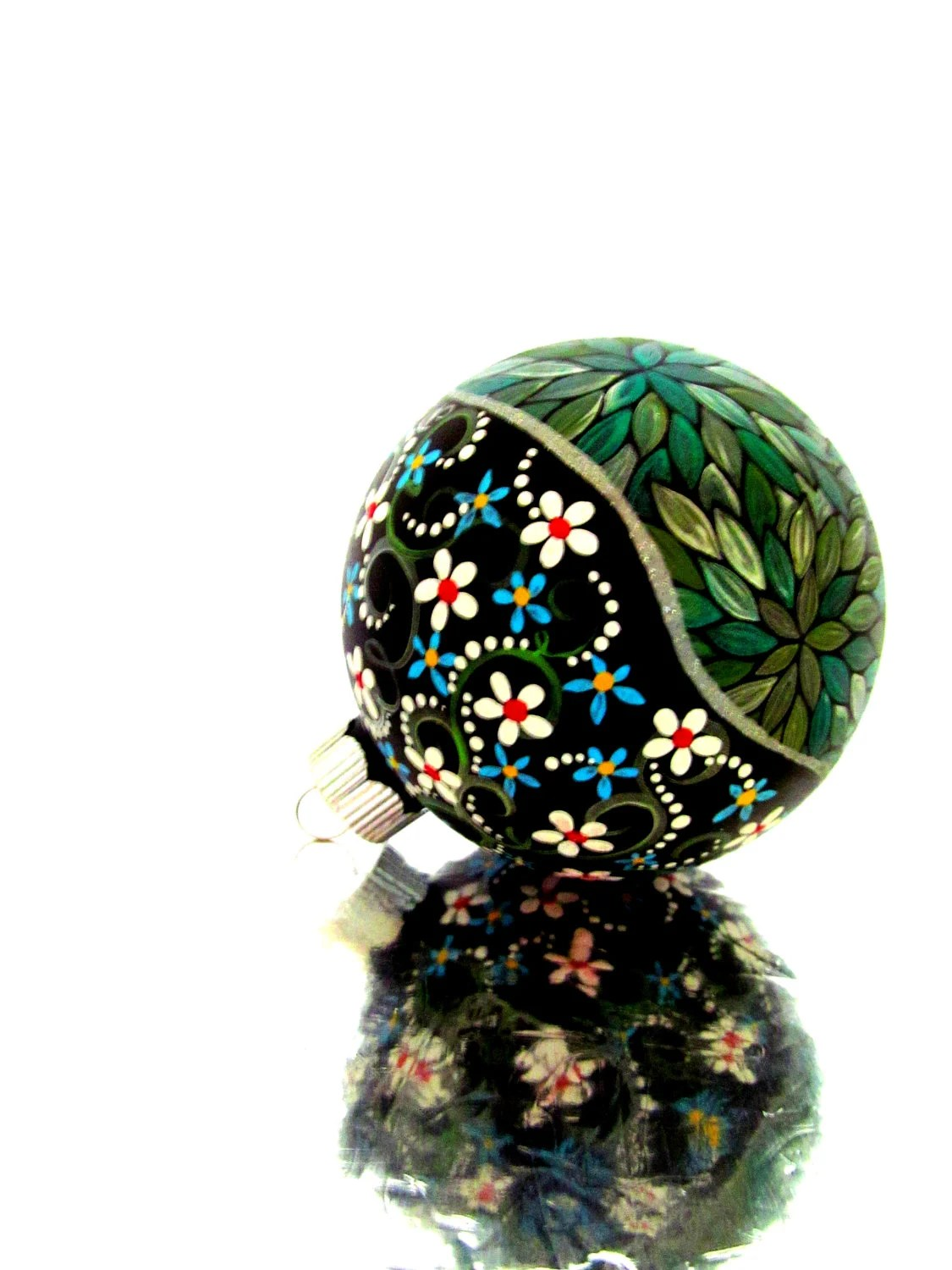 Metallic Green: Hand painted Christmas Ornament Green and Silver - PearlesPainting