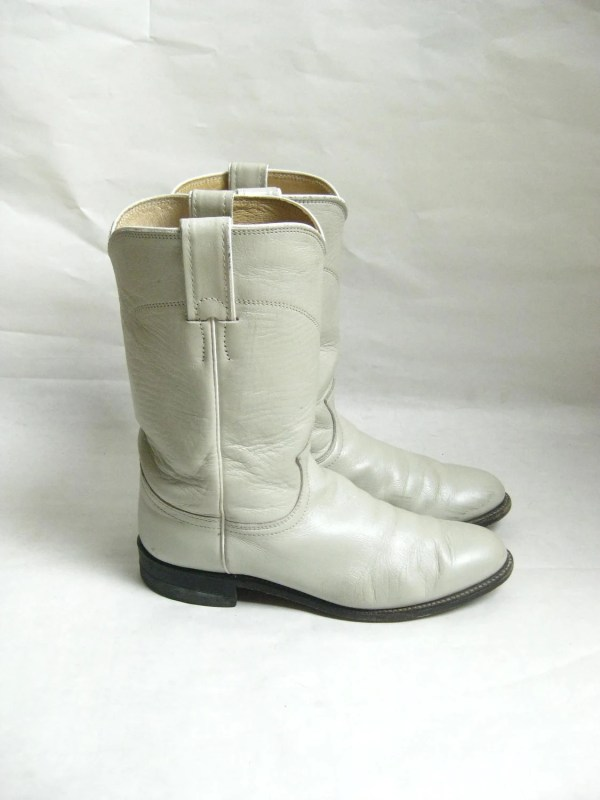 Vintage Justin Cream Leather ROPER BOOTS Size by