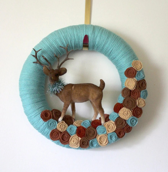 Brown Deer Wreath Winter Wreath Woodland Wreath Yarn and