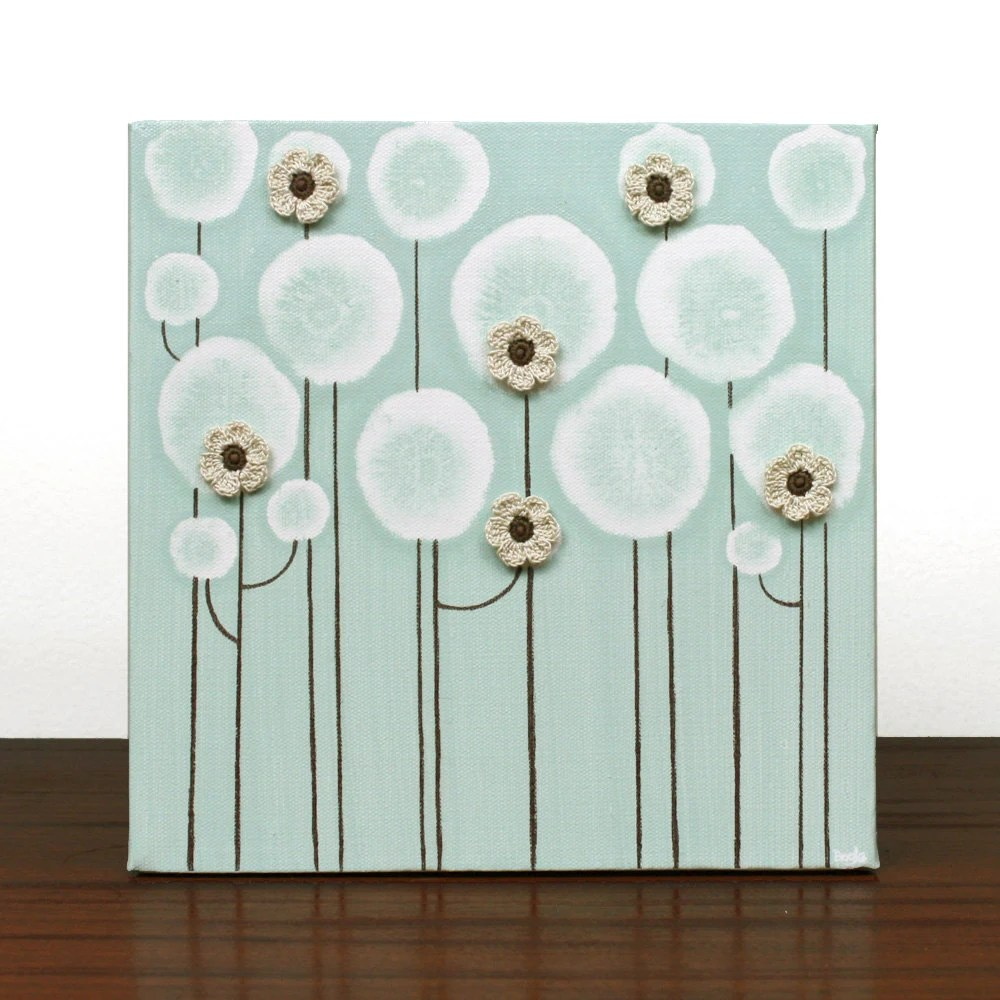 Canvas Art Acrylic Flower Painting Original Brown and Blue