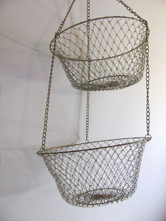 hanging chair cover wood baby high vintage wire mesh baskets by dirtybirdiesvintage on etsy