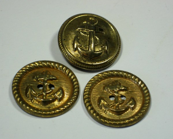 Vintage Military Brass Metal Shank Buttons With Anchor
