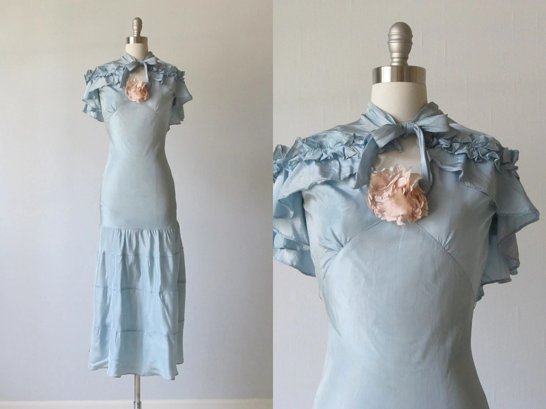 1930s Dress / 30s Bias Cut Dress With Cape / Blue 1930s Dress