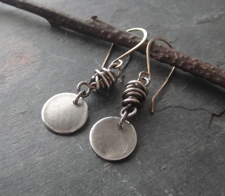 Artisan Jewelry Sterling Silver Fine Silver Dangle Earrings