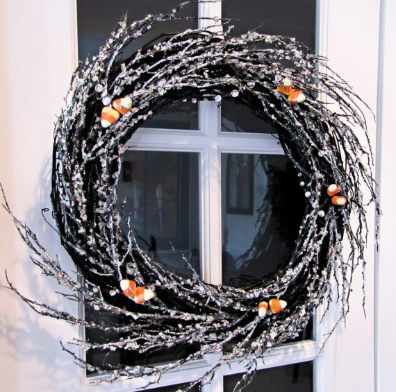 Fall Halloween Wreath Icy Black Twig Branches, Sparkly Candy Corn - divinegrapevine