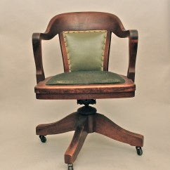 Wooden Library Chair Indoor Swing With Stand Vintage Antique Swivel Bankers Or