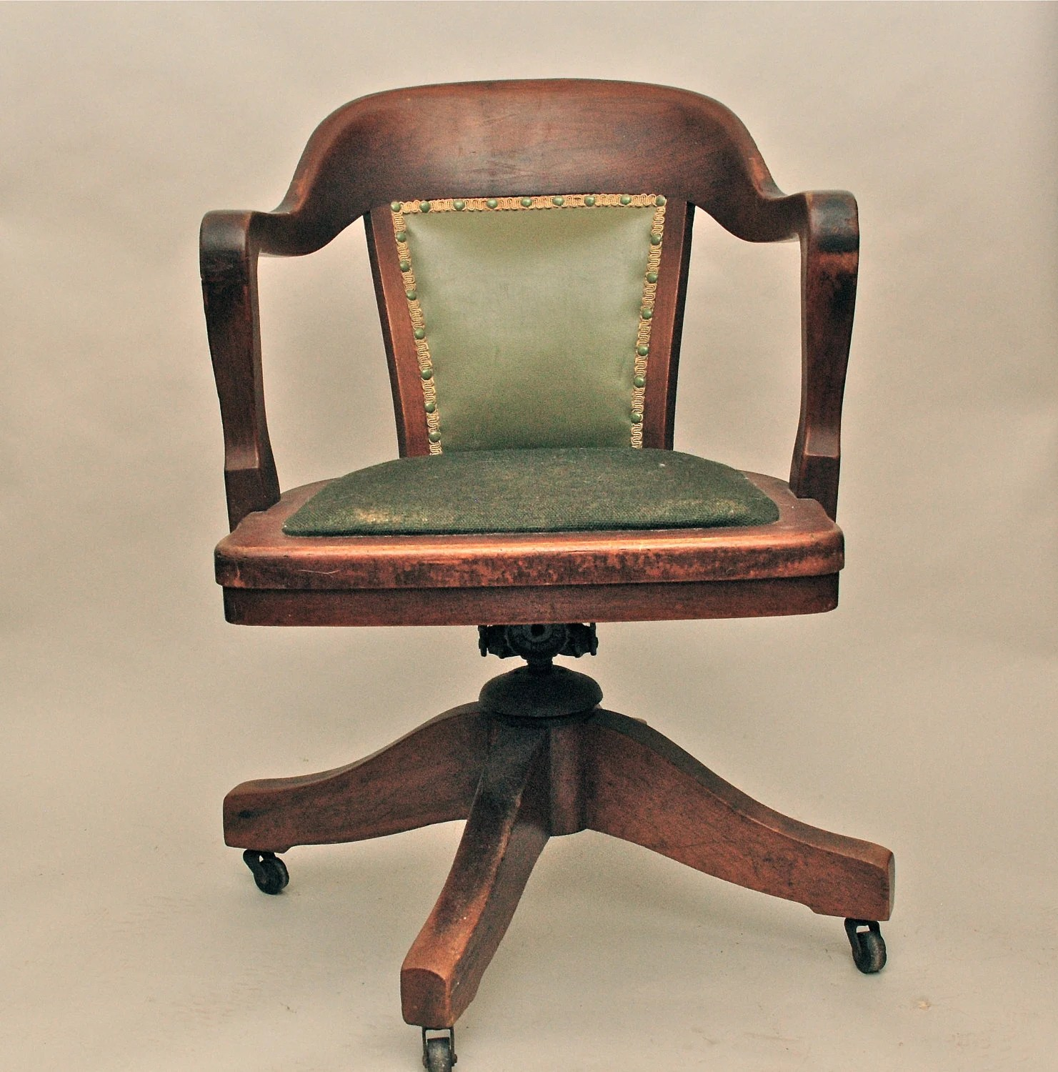 Wood Bankers Chair Vintage Antique Wooden Swivel Bankers Or Library Chair
