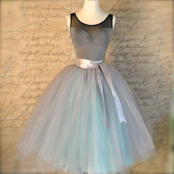Dove Gray And Light Blue Tutu Skirt Women. Ballet