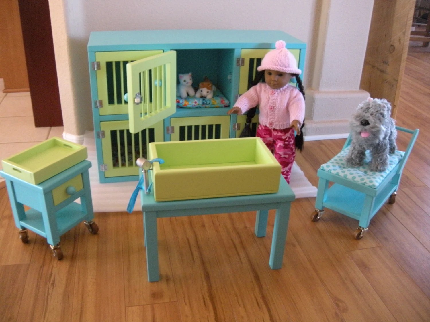 american girl doll chairs intex inflatable pull out chair twin bed pet hospital boarding set for vet