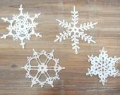 Set of 4 Crochet Snowflakes - christmas decoration ornament - katrinshine