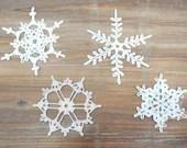 Set of 4 Crochet Snowflakes - christmas decoration ornament - katrinshine