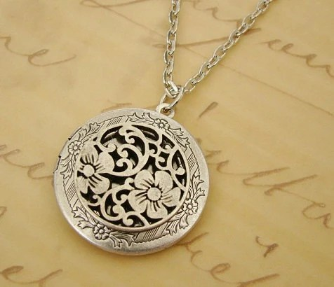 Round Silver Medallion Locket Necklace By Backstreetcreations