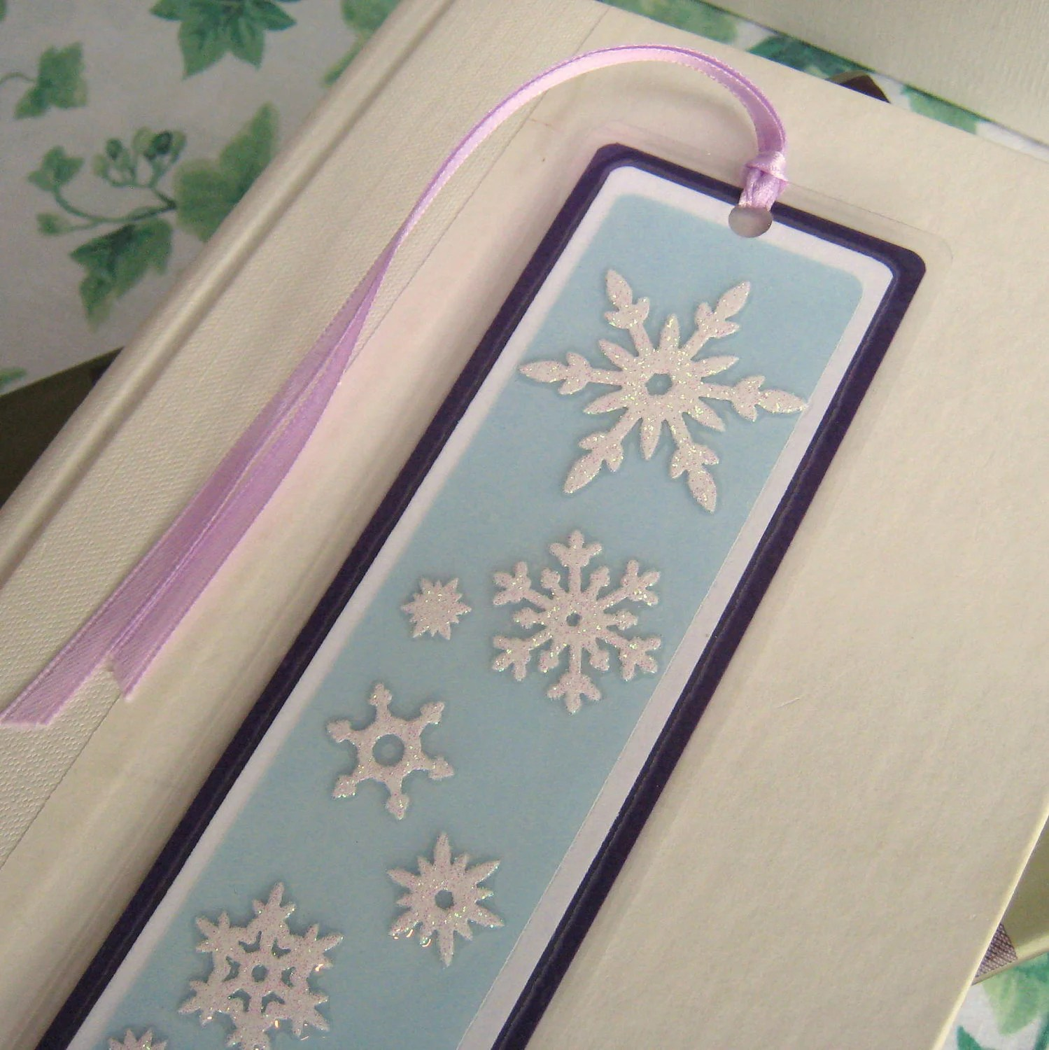 Winter Bookmark Laminated Snowflakes With Light Blue and Purple - BGardenCreations