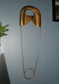 Giant vintage safety pin metal wall decor