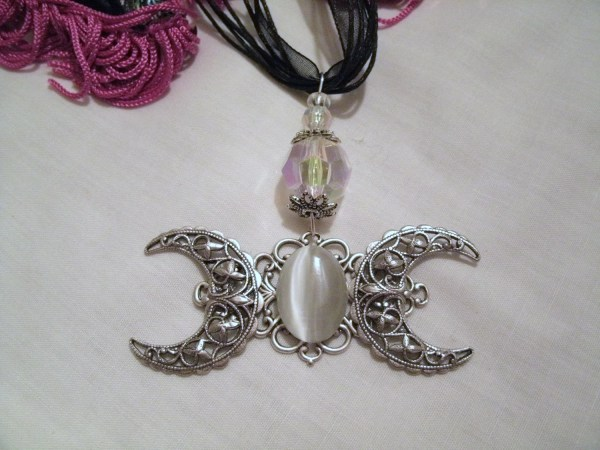Triple Moon Goddess Necklace Wiccan Jewelry Pagan