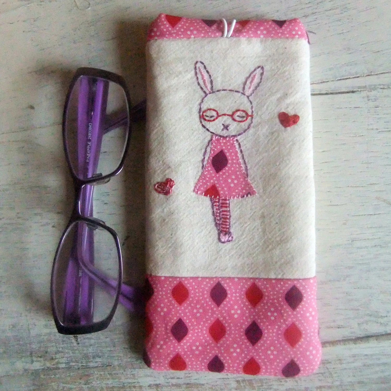hand embroidered glasses case