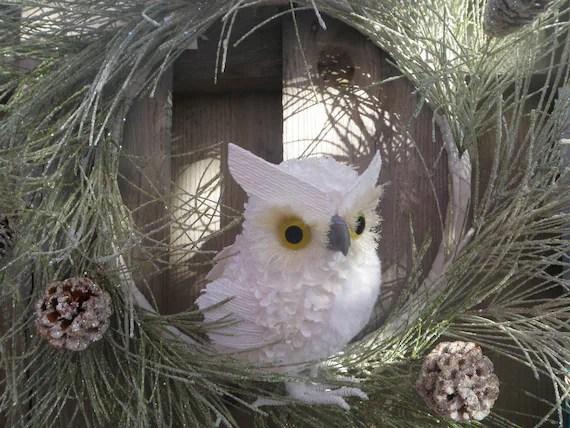 Winter Holiday Owl Wreath- Snow Glittered Pine Cone Accents Christmas Decor - IngridsSecretGarden