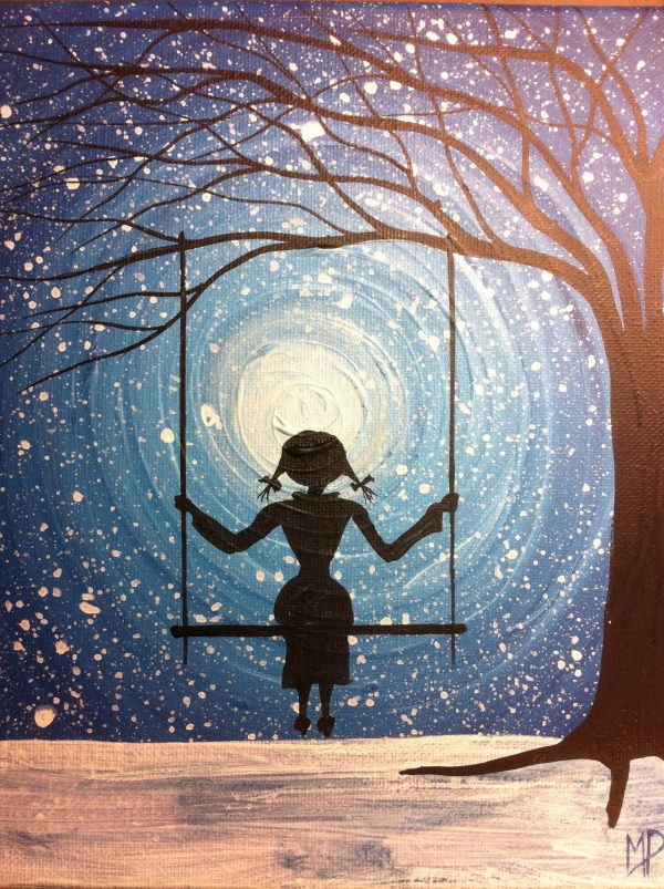Girl Swing Painting- Wait 10 X 8 Acrylic