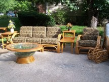 Vintage Rattan Sectional Sofa Chair And 2-tier End Table