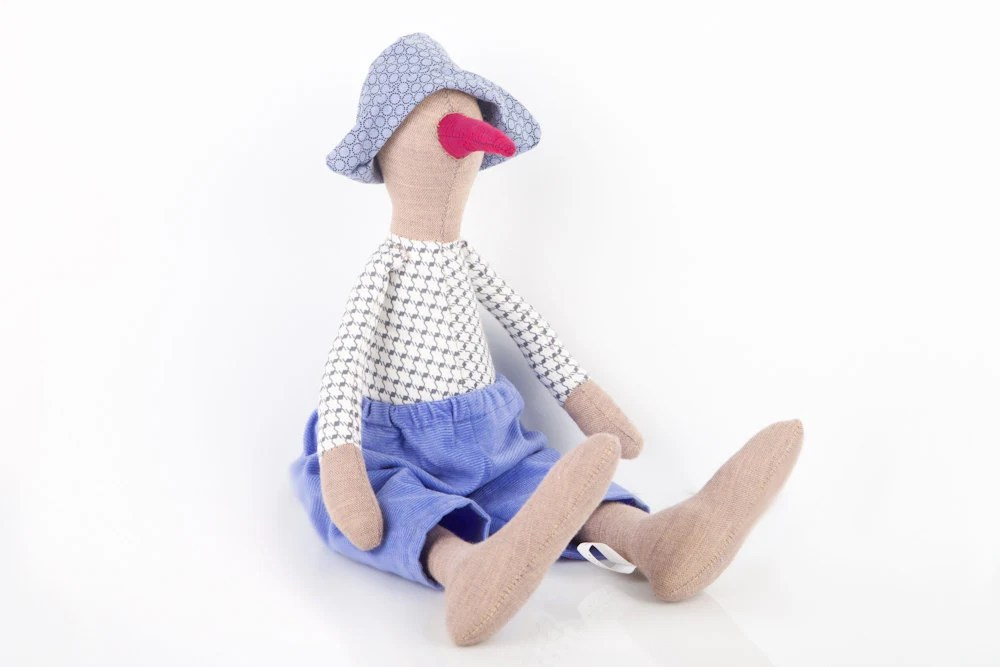 stuffed fabric bird doll softie plush - with Maroon beak Wearing Retro plaid gray shirt and blue corduroy and hat - handmade eco fabric doll