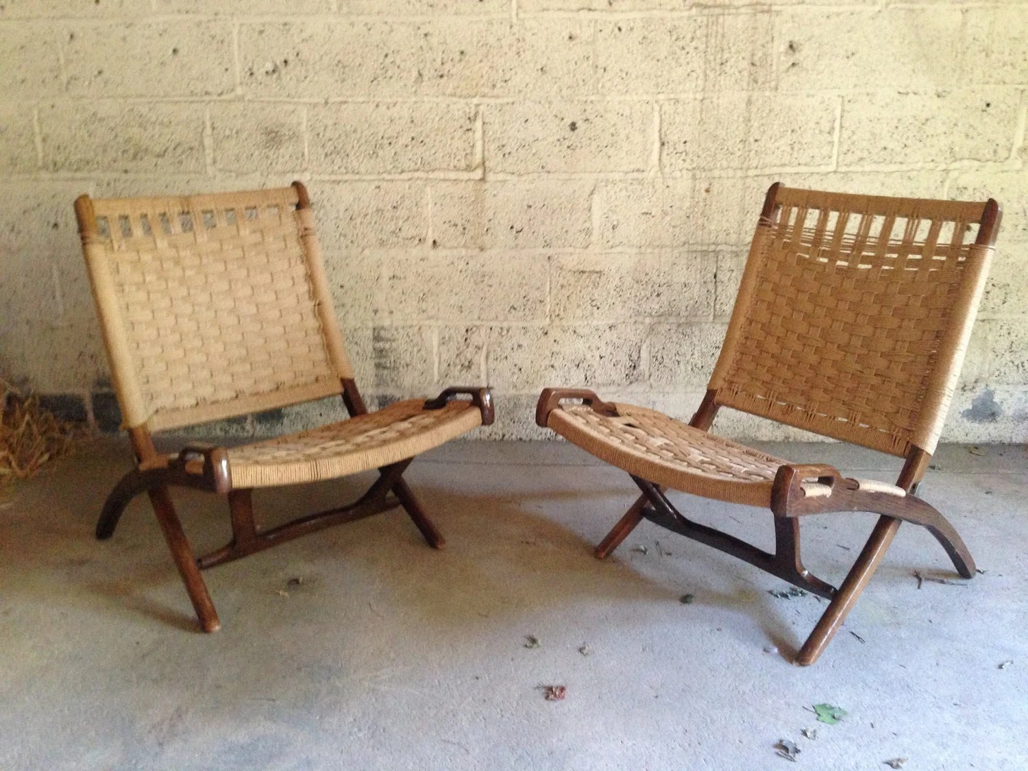 Hans Wegner Folding Chair Pair Of Hans Wegner Style Folding Rope Chairs Danish Mid